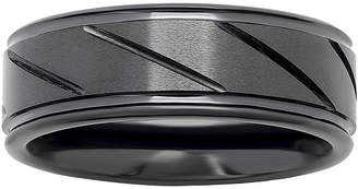 JCPenney MODERN BRIDE Personalized Mens 7mm Comfort Fit Diagonal Stripe Black Ceramic Wedding Band
