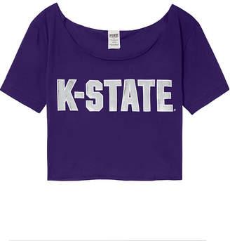 PINK Kansas State University Cutoff Raw Edge Neck Tee