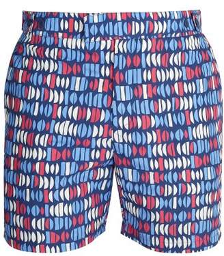 Frescobol Carioca - Tailored Aquarela Print Swim Shorts - Mens - Blue Multi