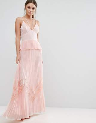 True Decadence Pleated Strappy Maxi Dress