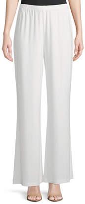Caroline Rose Stretch-Knit Wide-Leg Pants, Petite