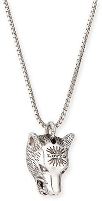 Gucci Angry Forest Men's Wolf Head Sterling Silver Necklace $500 thestylecure.com