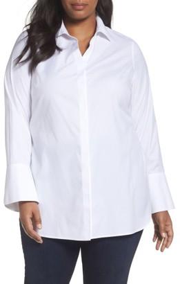 Plus Size Women's Foxcroft Non-Iron Stretch Poplin Tunic $108 thestylecure.com