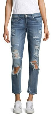 True Religion Ripped Mid-Rise Straight Leg Jeans