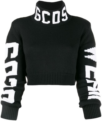 GCDS contrasting logos cropped sweater
