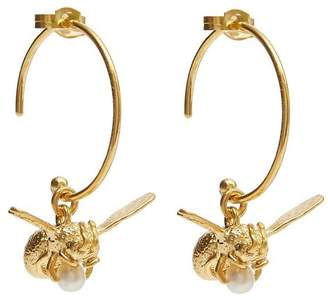 Alex Monroe Gold-Plated Flying Bee Pearl Hoop Earrings