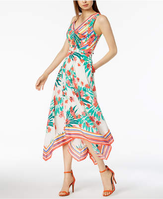 Vince Camuto Floral-Printed Handkerchief-Hem Midi Dress