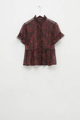 French Connenction Sheer Leopard Ruffle Sleeve Blouse