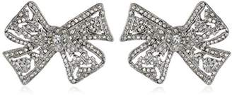Kenneth Jay Lane Bride Clear Crystal Bow Ball Earrings