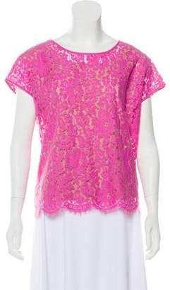 Robert Rodriguez Short Sleeve Lace-Overlay Top