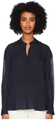 Vince Mixed Media Pullover Blouse Women's Clothing