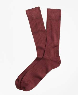 Brooks Brothers Rib-Knit Crew Socks