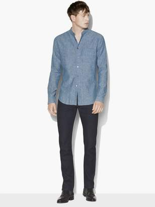 John Varvatos Chambray Band Collar Shirt