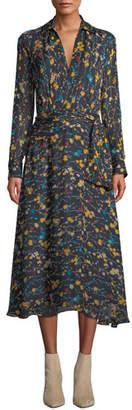 Equipment Vivienne V-Neck Long-Sleeve Floral-Printed A-line Dress
