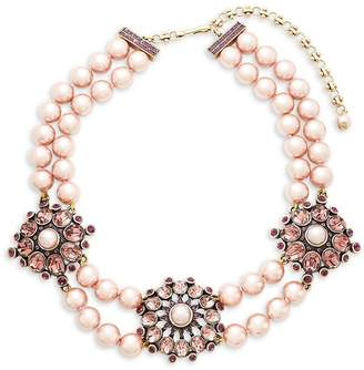 Heidi Daus Women's Simulated Faux Pearl and Crystal Triple Station Beaded Necklace