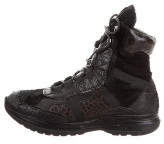 Calvin Klein Collection Python-Trimmed Hiking Boots