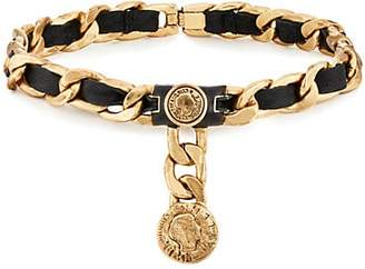 Mayle Maison Women's Leather On Curb-Chain Choker - Gold