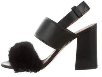 Givenchy Mink-Accented Slingback Sandals w/ Tags