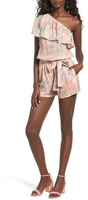 Women's Mimi Chica Ruffle One-Shoulder Romper $45 thestylecure.com