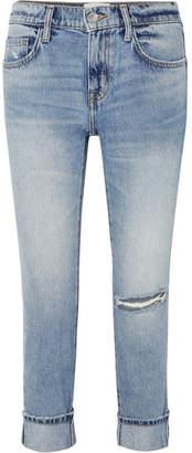 Current/Elliott The Fling Distressed Low-rise Slim-leg Jeans - Mid denim