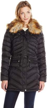 Laundry by Shelli Segal Women's Anorak Down Coat with Faux Fur Hood