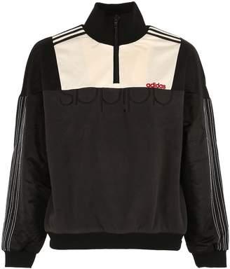 adidas By Alexander Wang Half Zip Nylon & Fleece Sweatshirt