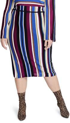 Rachel Roy Metallic Stripe Pencil Skirt