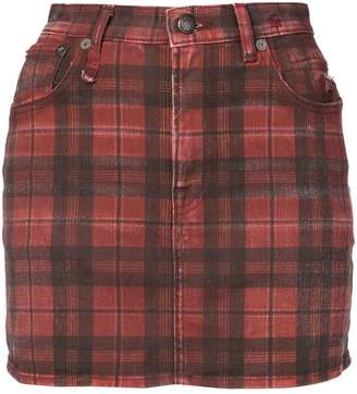 R 13 check denim mini skirt