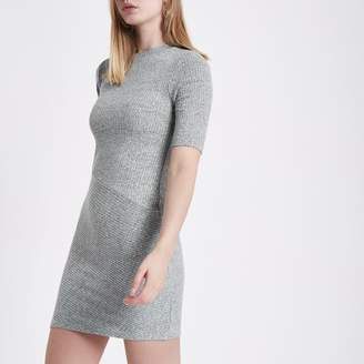 River Island Womens Grey mix rib short sleeve bodycon dress