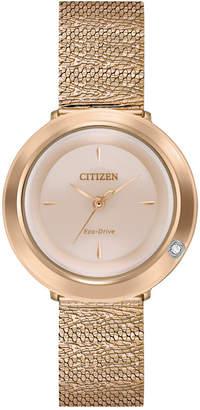 Citizen Eco-Drive Women L Ambiluna Diamond-Accent Rose Gold-Tone Stainless Steel Mesh Bracelet Watch 32mm