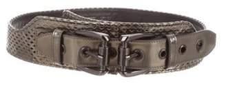 Burberry Metallic Waist Belt Pewter Metallic Waist Belt