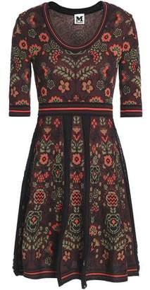 M Missoni Pleated Cotton-Blend Floral-Jacquard Mini Dress