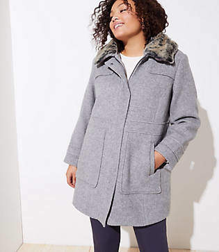 LOFT Plus Faux Fur Collar Coat