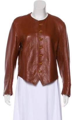 Joseph Leather Collarless Jacket