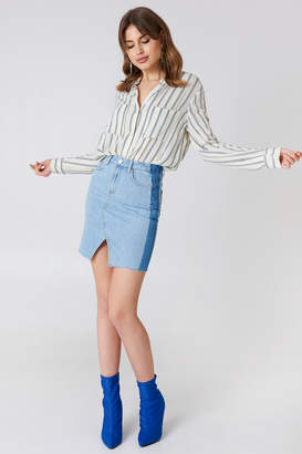 NA-KD Na Kd Front Slit Side Panel Denim Skirt Light Blue