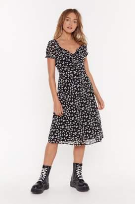 Nasty Gal Womens Struttin' My Puff Floral Midi Dress - Black - 10, Black