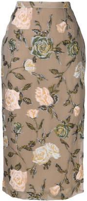 Rochas high-waisted floral skirt