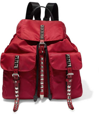 Prada Studded Leather-trimmed Shell Backpack - Red