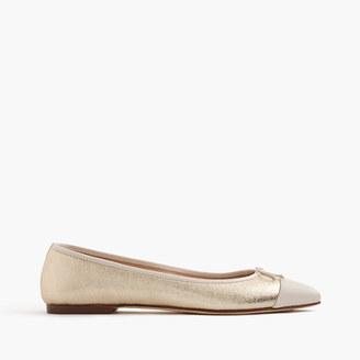 Gemma cap-toe flats in metallic leather $108 thestylecure.com