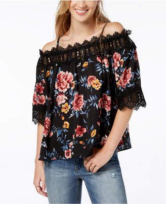 BCX Juniors' Floral-Print Lace-Trim Top