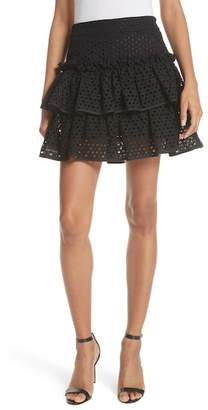 Milly Floral Ruffle Tiered Cotton Eyelet Miniskirt