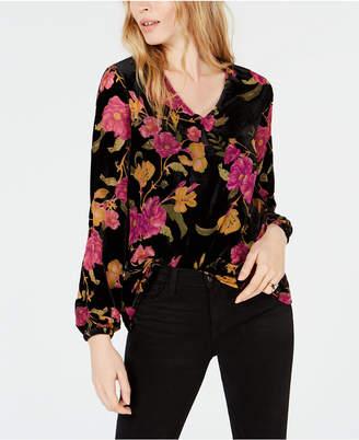 Bar III Floral-Print Velvet Blouse