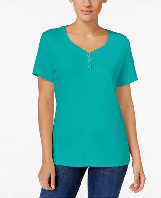 Karen Scott Henley T-Shirt, Created for Macy's $9.98 thestylecure.com
