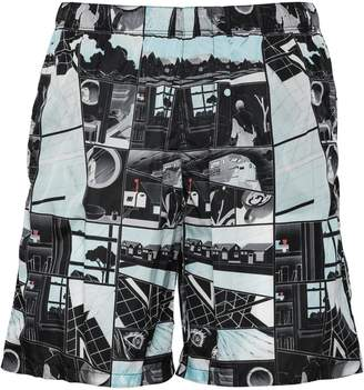 Prada comic print swim trunks