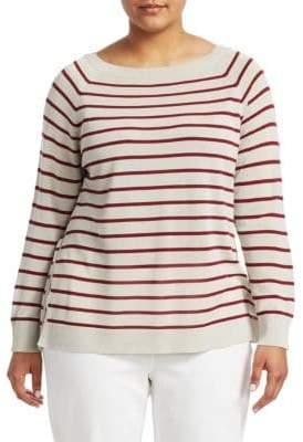 Lafayette 148 New York Lafayette 148 New York, Plus Size Striped Raglan Sweater