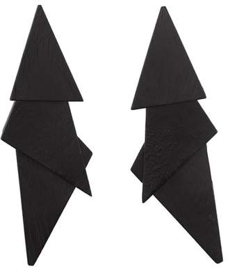 Josie Natori Acacia Wood Triangle Earrings
