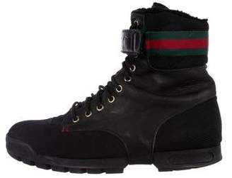Gucci Leather Web-Accented Hiking Boots