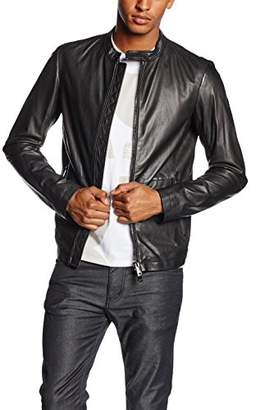 Armani Jeans Men's Moto Leather Jacket