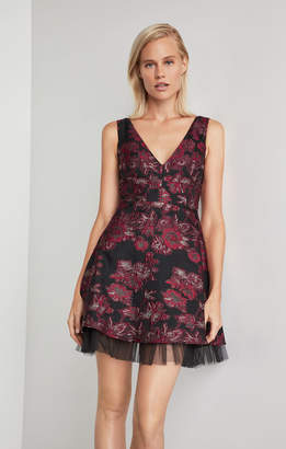 BCBGMAXAZRIA Floral Jacquard Flared Dress