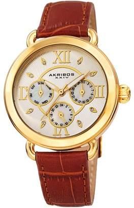 Akribos XXIV Gold Tone Quartz Watch With Leather Strap [AK1043YGBR]